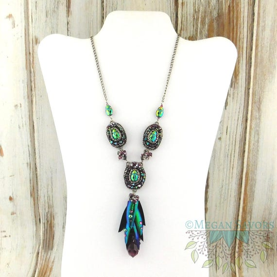 Crystal scarab earring or necklace kit both real jewel