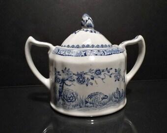 Vintage Masons Ironstone China Blue Quail Lidded Sugar Bowl