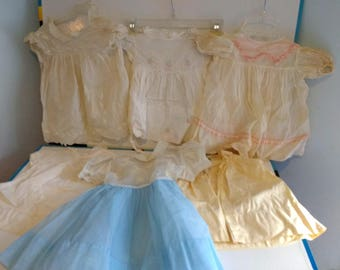 Vintage Baby Dress Child Dress Lot Antique Clothing for Dolls Display Bisque Doll Composition Doll Playpal