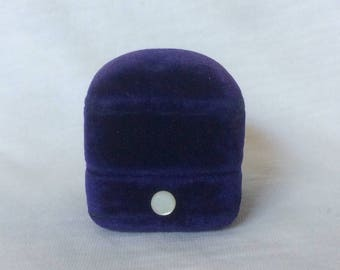 Classic Velvet Ring Box Art Deco Blue Purple jewelry Wedding Display mother of pearl MOP Vintage Wisconsin