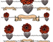 Clip Art Milagros with Banners, Fall Colors, Autumn Collage Sheets, Woodcut Hearts, Day of the Dead, Corazon, Mexican, Hearts,  Mexico,