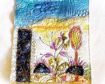 Lilly BluebellBotanical  fiber art, blue mini wallhanging, minir fiber art quilt, mixedmedia  quilt, original fiber art, bird fiber ar