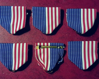 6 LAPEL pins STARS and STRIPES ribbons,4th of July party favors  medals,costumes,cosplay,military, grosgrain