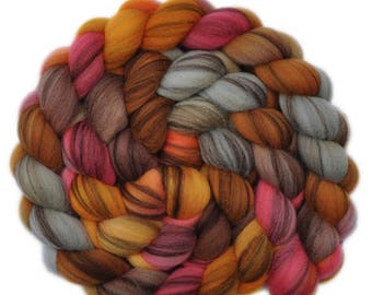 Hand dyed roving - 21.5μ Merino wool combed top spinning fiber - 4.2 ounces - Bum's Rush 2