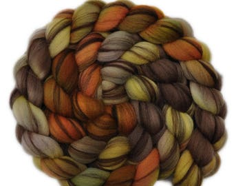 Hand dyed roving - 21.5μ Merino wool combed top spinning fiber - 4.2 ounces - Head to Head 1