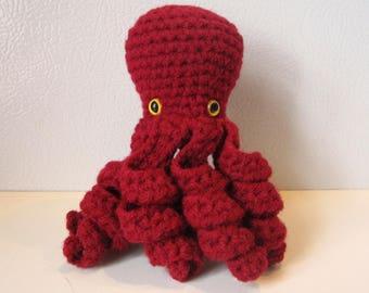Scarlett the Octopus : handmade crochet stuffed animal toy - Red