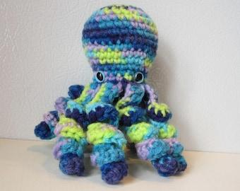 Ocean the Octopus : handmade crochet stuffed animal toy - Blue Yellow Purple