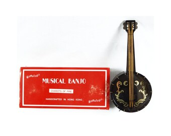 Vintage Sankyo Chariots of Fire Musical Banjo and Stand Music Box