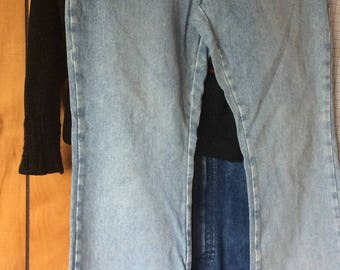 VINTAGE BLUE JEANS, old navy, button fly, faded denim, wide leg, size 14 vintage pants