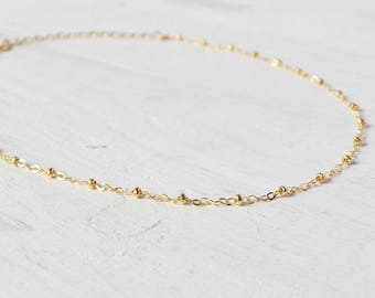 Gold Ball Chain Choker, Gold Filled Delicate Choker Necklace, Everyday Simple Rose Gold Layering Necklace, Minimalist Necklace