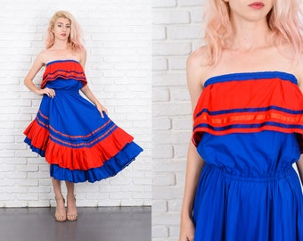 Vintage 70s Blue + Red Tiered Dress Color Block Asymmetrical Strapless Hippie S 9978