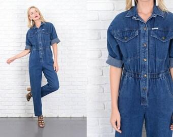 Vintage 80s 90s Blue Jean Denim Jumpsuit Pantsuit Retro Medium M 10139