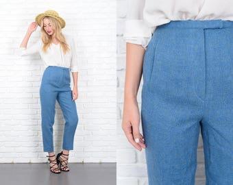 Vintage 60s 70s Blue Wool Trousers Pants High Waist Mod XS 10171