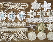 Teeny Tiny Vintage Applique Pack Fabric Flowers & Trims for Small Projects Neutral Collection