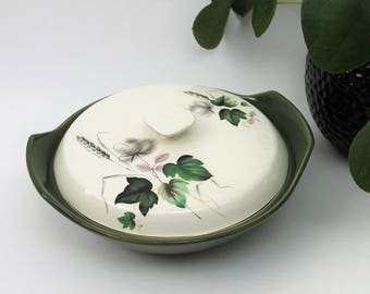 Green and White Leaf Design Casserole Dish with Lid
