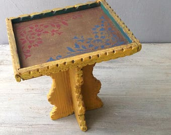Small Side Table Plant Stand, Boho Upcycled Yellow Side Table Rustic Boho Decor, 70s Wood Rustic Side Table, Retro Plant Stand India Style