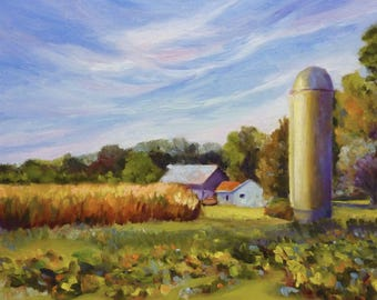 Oil Painting Landscape Painting Silo Fields and Farm