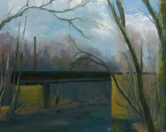 Plein Air Original Landscape Oil Painting Winter Bridge Across the Canal