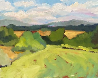 The Valley Meadow  Small Plein Air Landscape Painting on Canvas