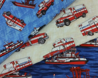 Emergency Vehicles Bundle from Clothworks Fabric's Emergency! Collection (3 Fabrics Total)