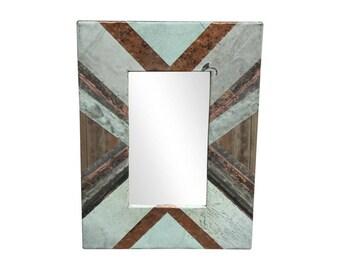 16 in. x 22 in. Diagonal Copper Cornice Patchwork 4.5 in. Mirror