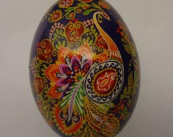 Real Ukrainian Easter Egg. Pysanka by Oleh Kirashchuk. Goose Egg