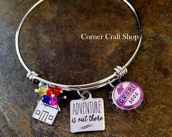 UP Adventure Is Out There Disney Movie Inspired Silver Bangle Bracelet with mini bottle cap Grape Soda Charm House Charm with Balloons Beads