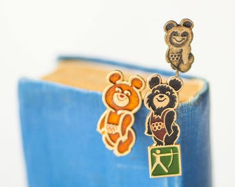 Mascot Misha pins set 3, fun Soviet pins Bear, rare Bear Cub from Olympics games in Moscow badges gift for boyfriend girlfriend
