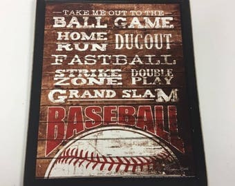 Baseball Wooden Wall Art Sign Boys Sports Bedroom Decor Dugout Ball Game