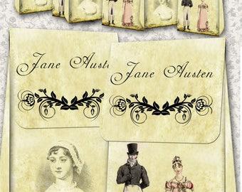Jane Austen Books: 2 small-sized favour Bag designs digital collage sheet. DIGITAL DOWNLOAD