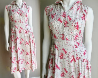 30s 40s Pink and White Day Dress - Novelty Print French Countryside - S