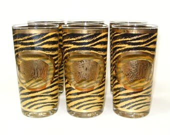 Cera RARE Tiger Set 6 Highball Glasses 22K Encrusted Gold - MINT Mid Century Mad Men Barware