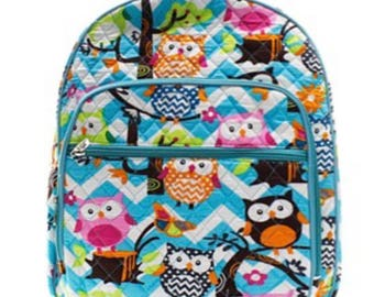 Monogrammed OWL themed Quilted Bookbag - Back to School Backpack -Overnight bag - Bookbag - Back to school - Other colors available