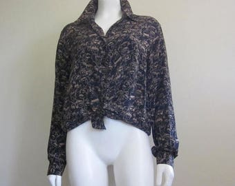 Saks Fifth Avenue / 90s / Silk Blouse / New Old Stock / Graphic Tops / Face / Festival Clothing
