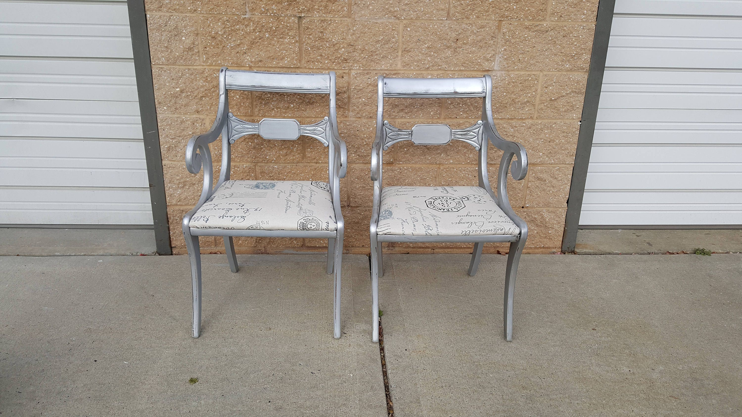 PICK UP ONLY Pair Vintage Metallic tarnished silver arm chairs