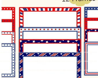 4th of July clipart, red and blue frame, 4th of july frame A-269, star retro Frames,diy Movie Night Party