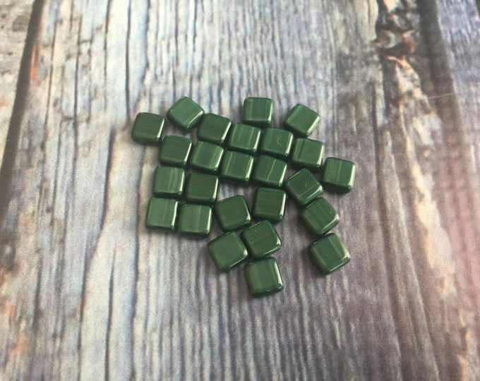 Beads, Two Hole Czech Glass 6mm Tile Bead in Shinny Forest Green with a lightly look of woodgrain in various tones of green  25 pcs