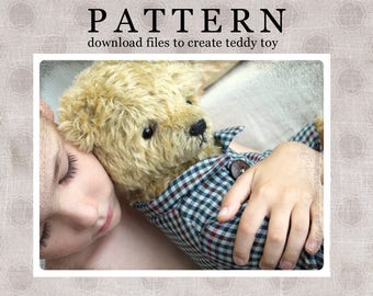 PATTERN Download to create Teddy like Classic Bear 16 inches and SHIRT
