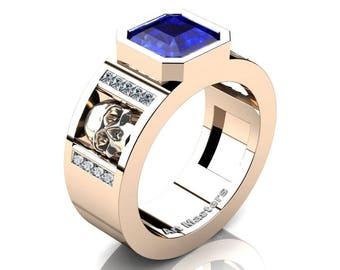 Mens Modern 14K Rose Gold 3.0 Ct Royal Emerald Cut Blue Sapphire Princess Diamond Skull Wedding Ring R41N-14KRGDBS