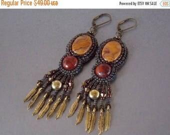 Summer sale -15% Bead embroidery,  Earring, Seed bead jewelry, Trending jewelry, Embroidery jewelry, Agate, Bronze,