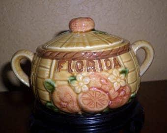 Florida/MID CENTURY SUGAR Bowl/Ceramic/Souvenir/Japan