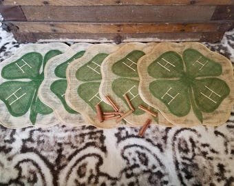Vintage 4-H Placemat Set of 5 - Fantastic Set of Woven Placemats, 4-H Clovers, Farmhouse Decor, 4-H Clubs, OOAK 4-H Gift, Graduation Gift