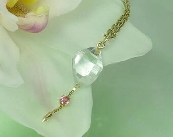 Raw Crystal Pendant, Gold Crystal Pendant, Pink Sapphire, Pink Sapphire Necklace, Herkimer Diamond, Raw Crystal Jewelry, Sapphire Pendant