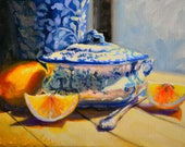 Original Painting of GESNYDE SUURLEMOENE, lemons and a Delft Vase. Blue and Yellow. Still life.