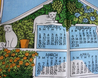 Calendar Tea Towel, Pat Albeck Design, Flower & Cats,  Linen, Property of National Trust, Like New with Tag, Irish Linen