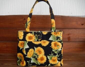 Handbag Purse Fabric Handbag Summer Fashion Accessories Women Handbag Pleated Large Shoulder Bag in Black Sunflowers print