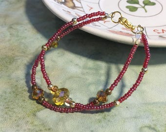 Tiny Red and Gold Crystal Necklace - altar adornment, altar statue, goddess statue, saint icon