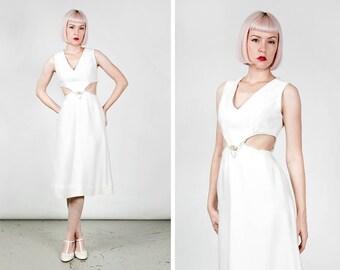 Vintage 1960s Go-Go / Mod Cut-Out Midriff Rhinestone Wiggle Dress