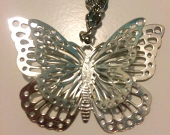 Vintage Silver Tone Butterfly Charm Necklace