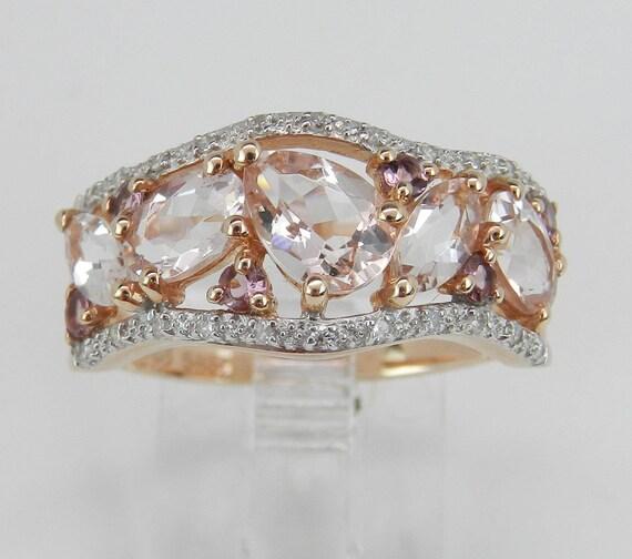 Morganite Pink Tourmaline Diamond Anniversary Band Wedding Ring 14K Rose Gold Size 7.75